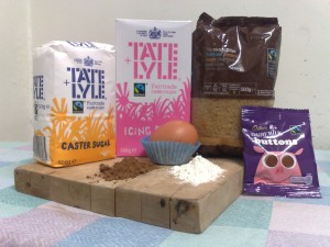Fairtrade sugar, icing sugar, demerera sugar, cadbury's buttons and Bourneville cocoa