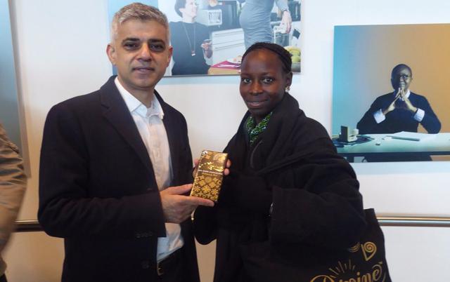London Mayor Sadiq Khan meets Fairtrade cocoa farmer Victoria Boakyewaa